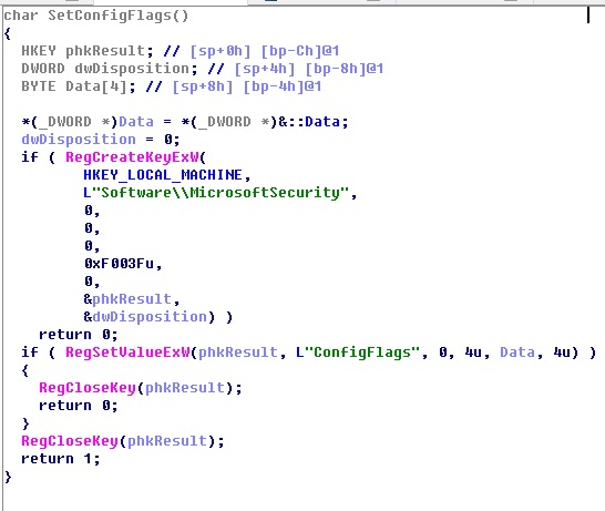 Figure 13 Code fragment for configuring system registry keys