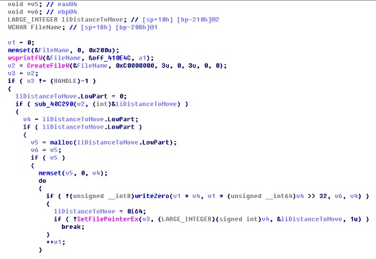 Figure 19 Code fragment for clearing data from the hard disk