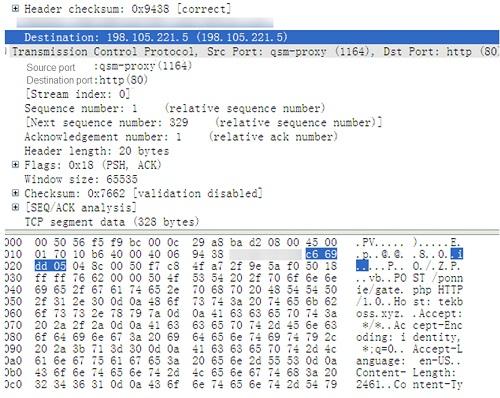 Figure 3 Result of monitoring network behaviors by WireShark