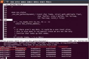 程序断在_nss_dns_gethostbyname4_r函数处的栈空间