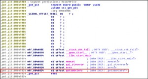 IDA查看.c编译后的elf文件的got表