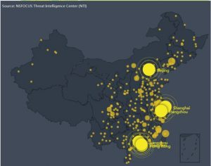Figure 5 Urban distribution of vulnerable devices in China