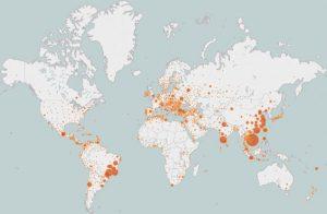 图 8.6 Mirai 僵尸网络Bot端全球分布图